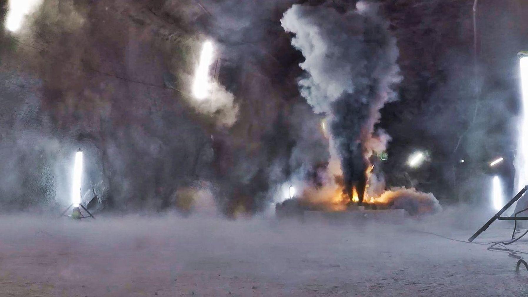 Burning EV Battery in Hagerbach Test Tunnel, Switzerland