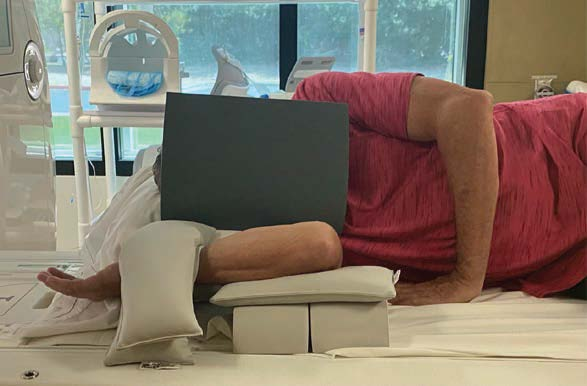 Side View of Volunteer Demonstrating Proper Positioning for FEVER View