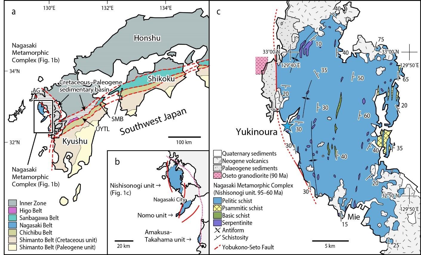 Location and Geological Map of Yukinoura District, Saikai City, Nagasaki Prefecture, Japan