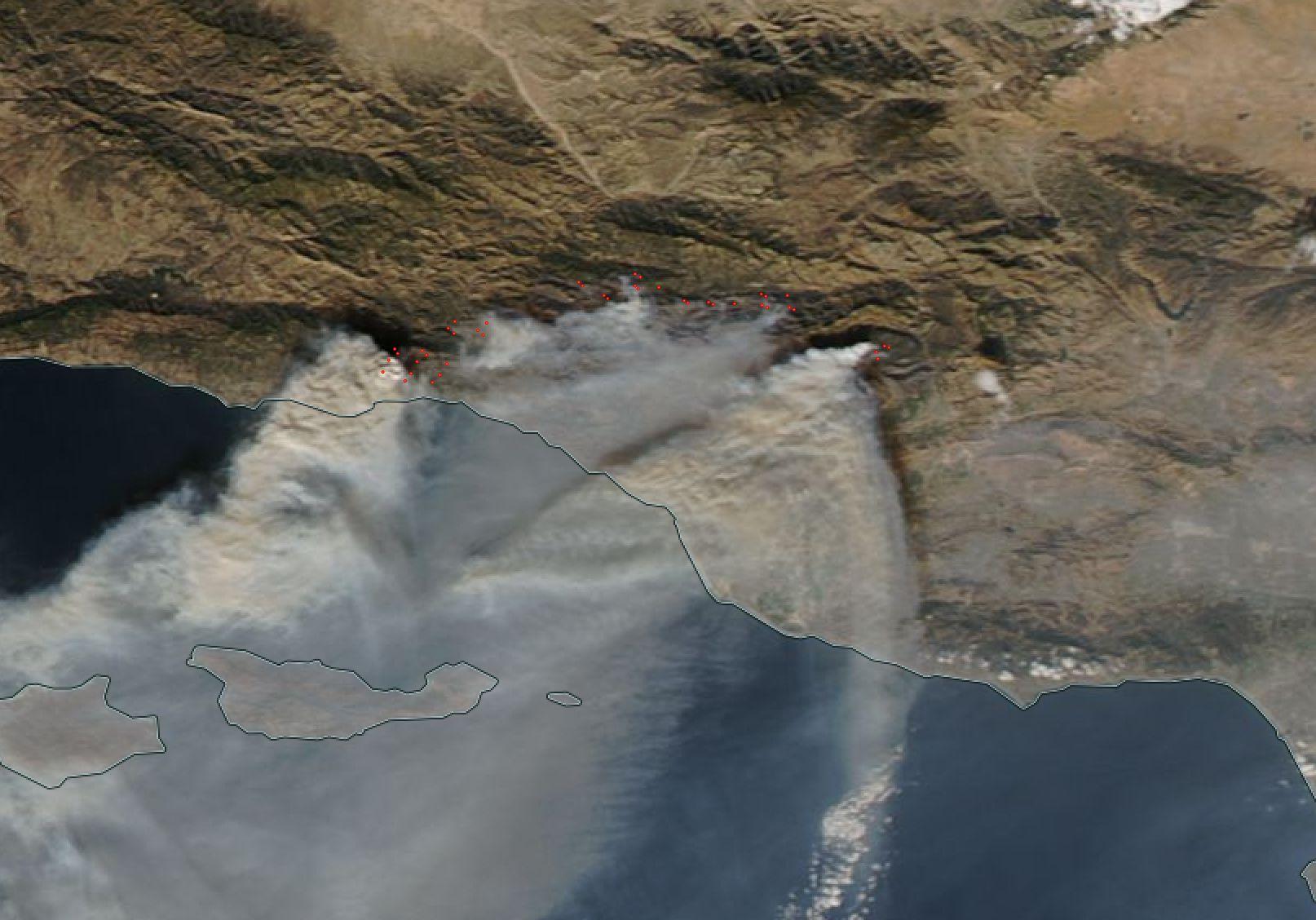 Terra Image of Thomas Fire Dec. 16