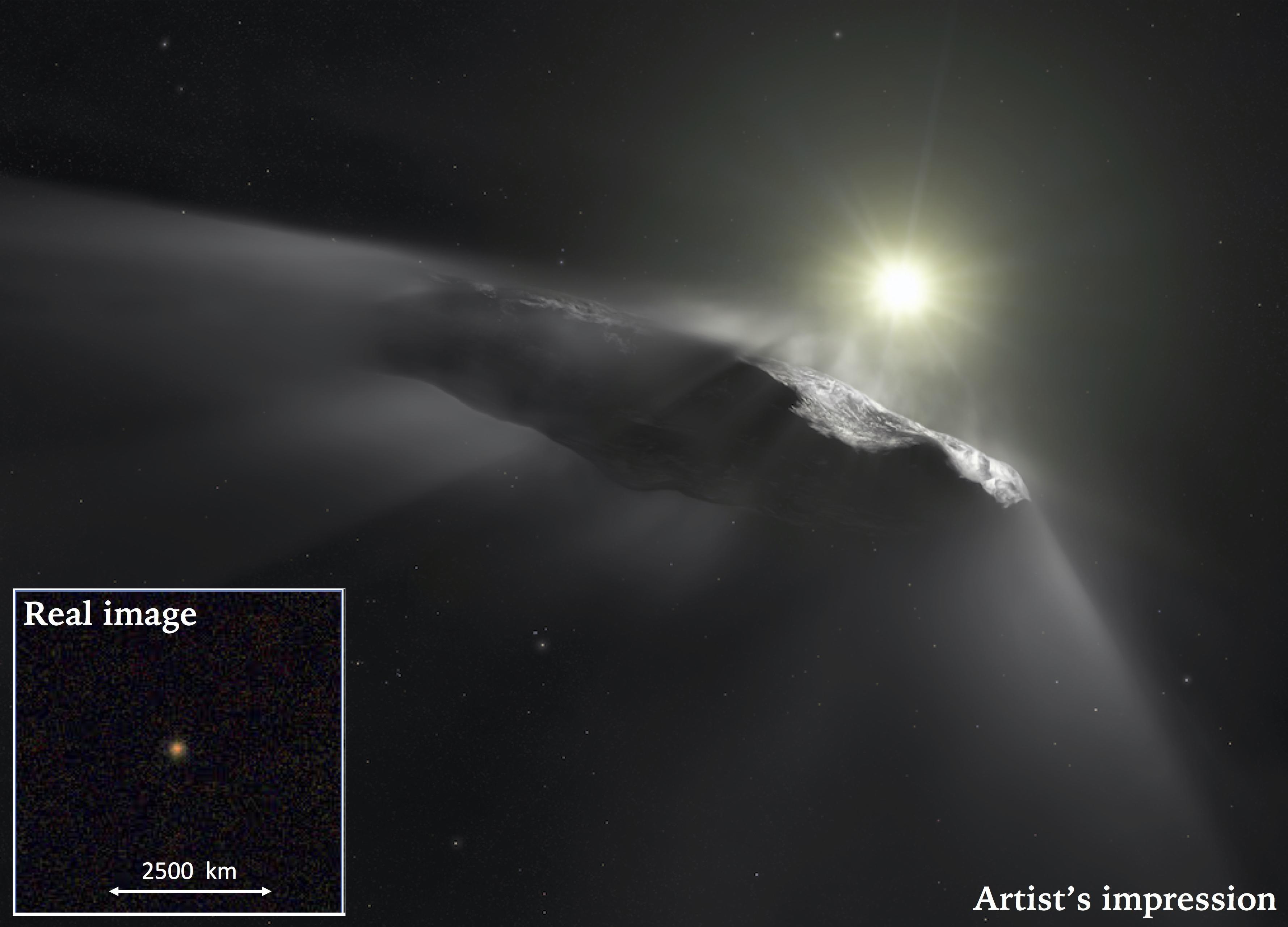 Oumuamua Artist's Impression and Actual Image