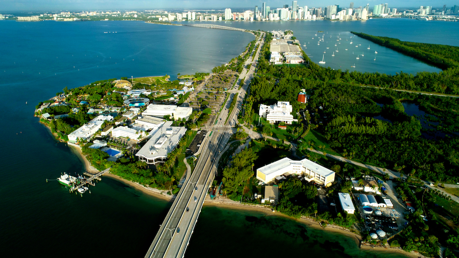 Aerial view of the University of Miami Rosenstiel School and NOAA research partners