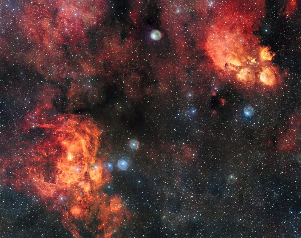 The Cat's Paw and Lobster Nebulae