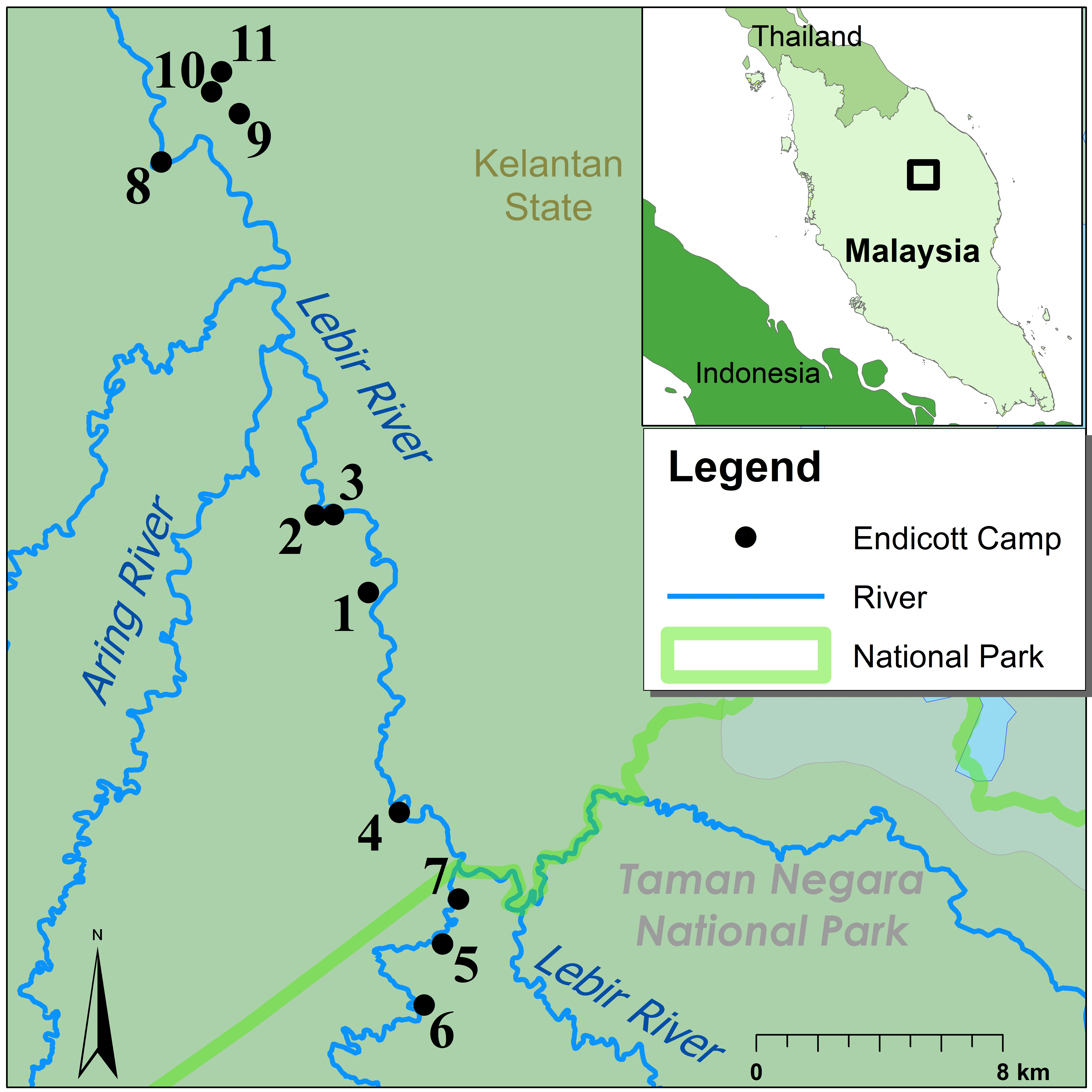 Map of Batek Foragers, Who Occupied 11 Camps