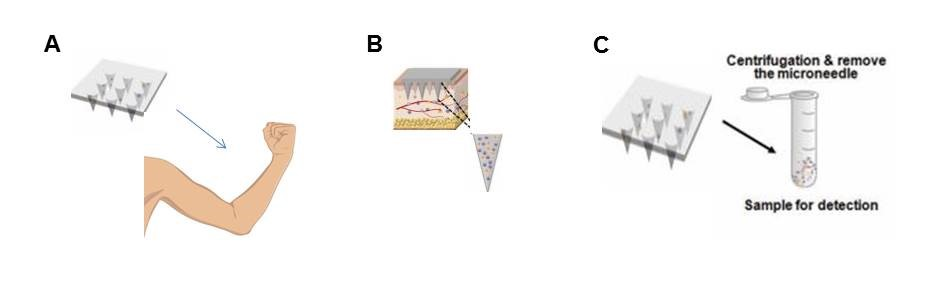 Extraction process using a microneedle patch